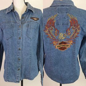 Harley Davidson Denim Embroidered Shirt M